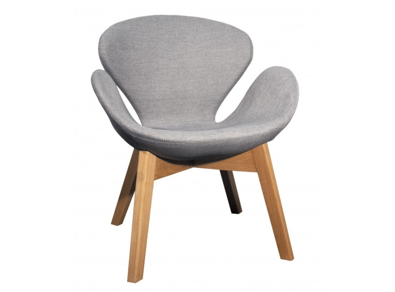 Chaise grise pied bois style belhome for Chaise grise salon
