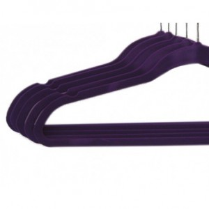 Lot de 5 cintres en feutrine violet