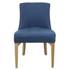 Chaise pied bois tissu bleu- CHESTER