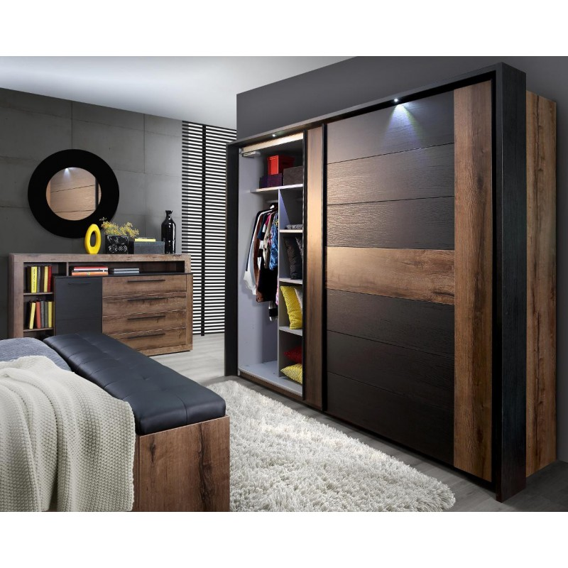 armoire dressing 2 portes coulissante bellevue belhome. Black Bedroom Furniture Sets. Home Design Ideas