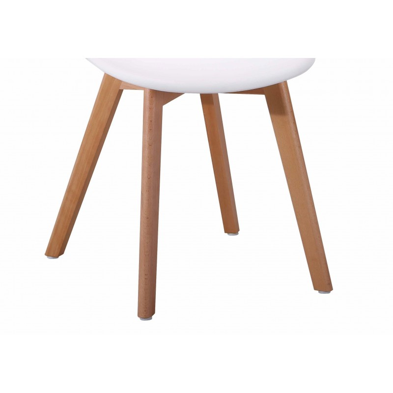 Chaise blanche - Piétement bois - POLY
