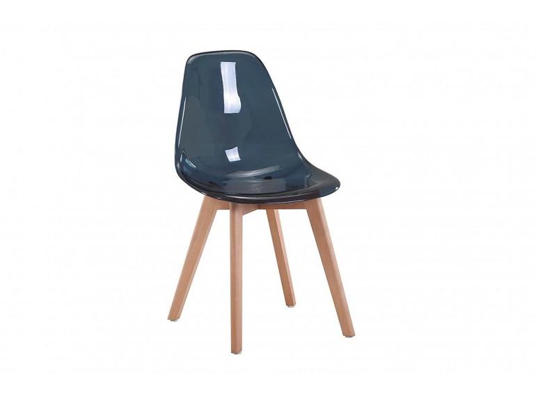 Chaise transparente scandinave Bleu pétrole - LIZA