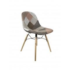 Chaises patchwork taupe - effet vieux cuir doux - CHAWK