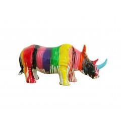 Objet déco rhinocéros jets de peintures multicolores