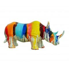 Statue décorative rhinocéros décorative jets de peintures multicolores