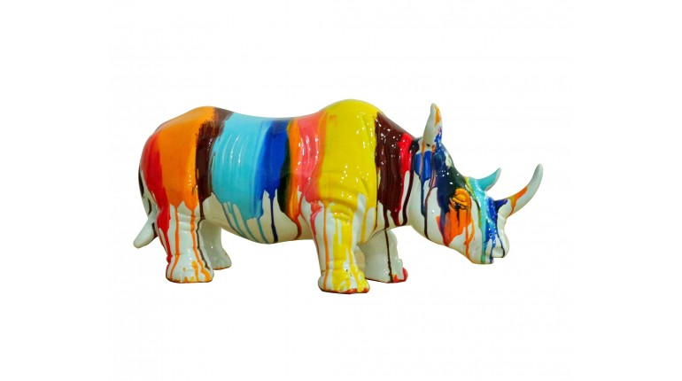 Décorative Multicolores Jets Statue Rhinocéros De Peintures ywvNn80Om