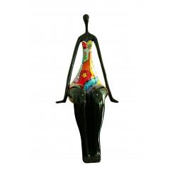 Statue femme décorative noire et multicolore style pop art
