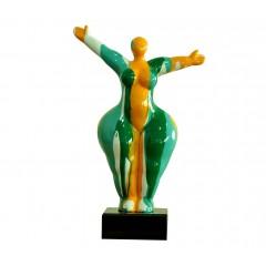 Statue design femme jaune et verte