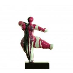 Statuette femme danseuse pop art coloris rouge/rose/blanc/noir - PINA