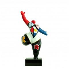 Statue femme figurine danseuse décoration multicolore -  style pop art - objet design moderne H33 cm - DANCING QUEEN 2