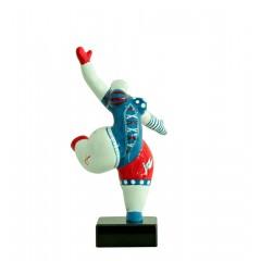 Statue femme blanche figurine danseuse décoration bleue et  rouge -  style pop art - objet design moderne H33 cm - MAMMA MIA