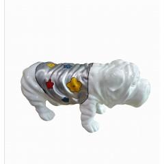 Statue chien bulldog blanc décoration florale - style pop art - objet design moderne L51 cm - OCTAVE