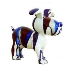 Petit chien sculpture décorative bleue et marron - design moderne contemporain