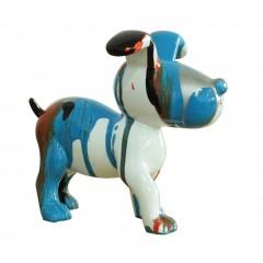 Petit chien sculpture décorative bleue et noire - design moderne contemporain H14 cm - SNOOP 3