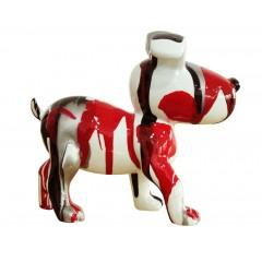 Petit chien sculpture décorative rouge - design moderne contemporain