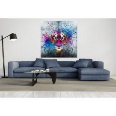 tableau plexiglas - tigre abstrait multicolore