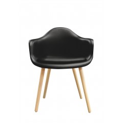 Chaise noire accoudoir design scandinave - ANDREW