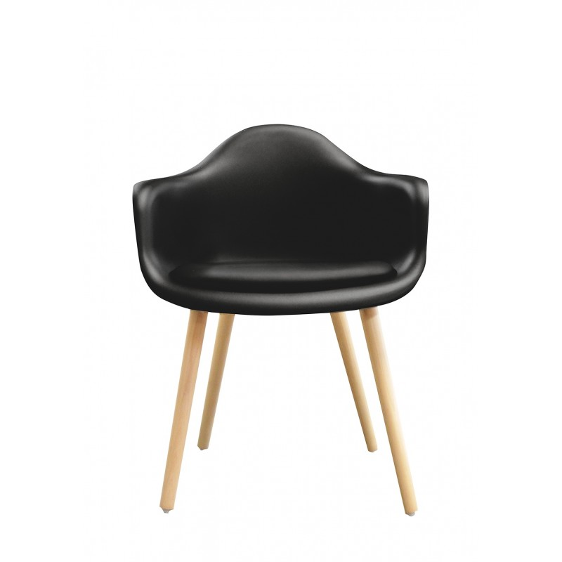 Chaise Noire Accoudoir Design Scandinave