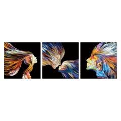 Tableau plexiglas / Peinture multicolore visages  - triptyque