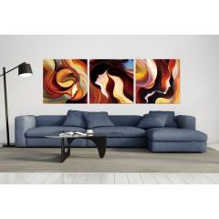 Tableau plexiglas / peinture personnages multicolore  - triptyque