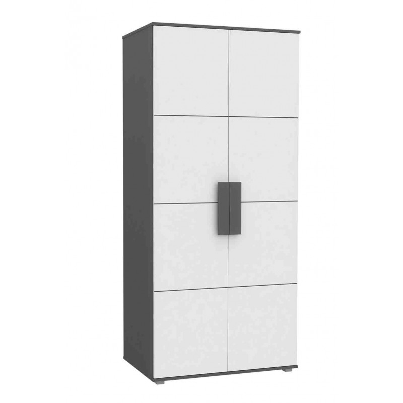 Armoire 2 portes enfant ado blanche - design contemporain - LIBELLE