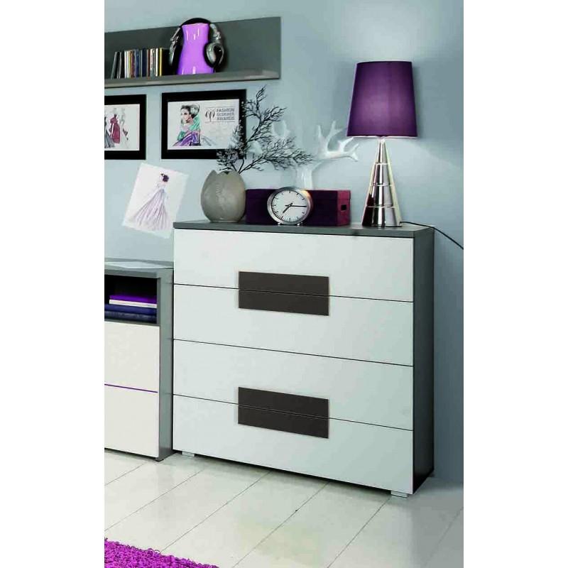 commode 4 tiroirs blanche chambre enfant design moderne libelle. Black Bedroom Furniture Sets. Home Design Ideas
