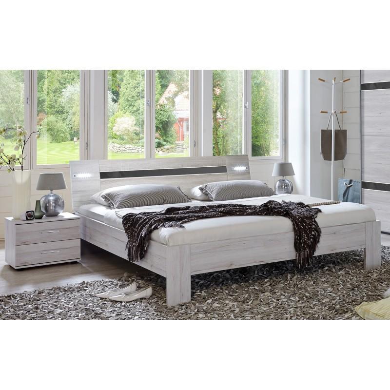 lit 160x200 design moderne led nizza belhome. Black Bedroom Furniture Sets. Home Design Ideas