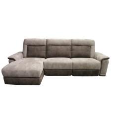 Canapé de relaxation motorisé angle gauche MARRON et TAUPE - BALTIMORE