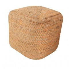 Pouf carré orange beige style bohème en coton et chanvre - ABELLA Catalogue Produits V