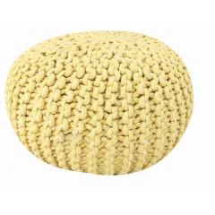 Pouf Rond jaune - maille tricot coton - KNIT