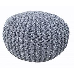 Pouf Rond gris - maille tricot coton - KNIT