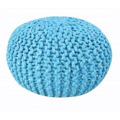 Pouf Rond bleu - maille tricot coton - KNIT