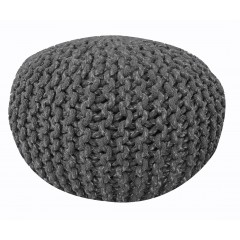 Pouf Rond gris anthracite - maille tricot coton - KNIT