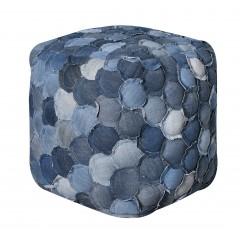 Pouf carré bleu patchwork JEANS - TIBBY