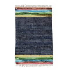 Tapis bleu marine 60 x 90 - coton recyclé - MOOREA