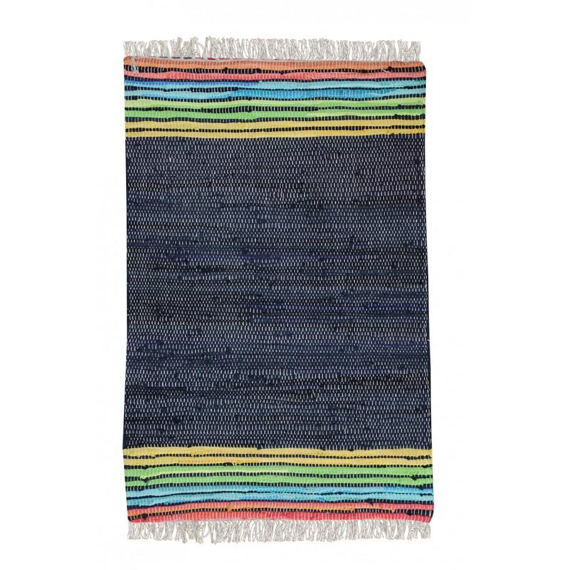tapis bleu marine 60 x 90 coton recycl moorea. Black Bedroom Furniture Sets. Home Design Ideas