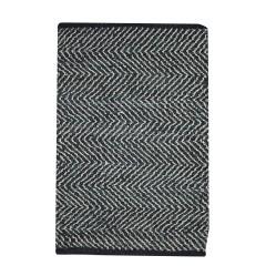 TAPIS en cuir noir - motif triangle - HYPNOTIQUE