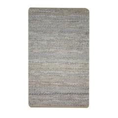 Tapis en cuir ivoire beige rectangulaire 60x90 - motif triangle - HYPNOTIQUE