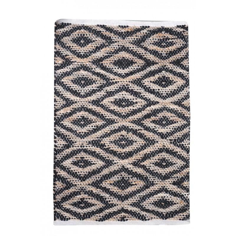 tapis noir coton 60 x 90 mandel - Tapis Noir