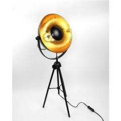 Lampadaire trépied vintage style industriel noir et or petit modèle