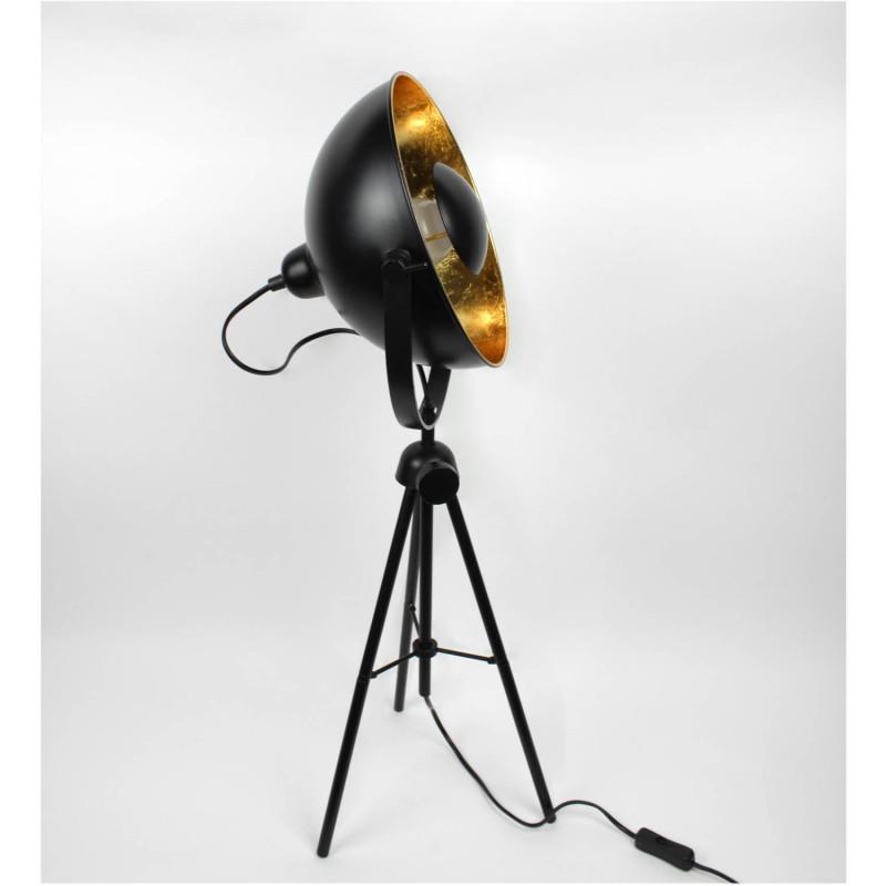 lampadaire tr pied vintage style industriel noir et or. Black Bedroom Furniture Sets. Home Design Ideas