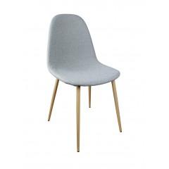 Chaise scandinave en tissu gris piètement effet bois - LOLA