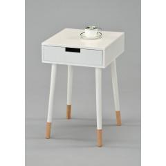 Table de chevet scandinave bois blanc laqué - LOUISE