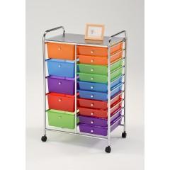 Armoire à roulette multicolore - 15 tiroirs