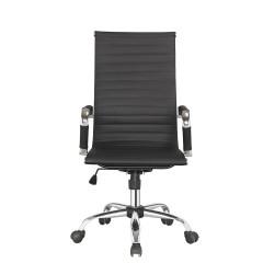 Chaise de bureau en simili noir avec accoudoirs et roulettes - KING