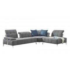 Canapé d'angle droit en tissu Gris - BALI