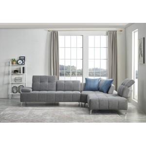 Canapé d'angle droit tissu gris avec dossiers réglables - BALI