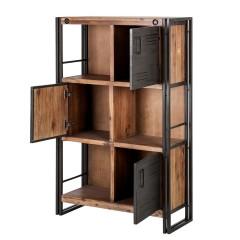 Bibliothèque 3 étagères avec portes en métal - ATELIER