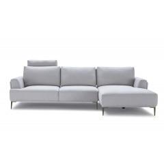 Canapé d'angle droit tissu gris clair avec dossiers mobiles - LUGANO