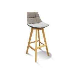 Chaise haute de bar scandinave gris / pieds bois - DEB